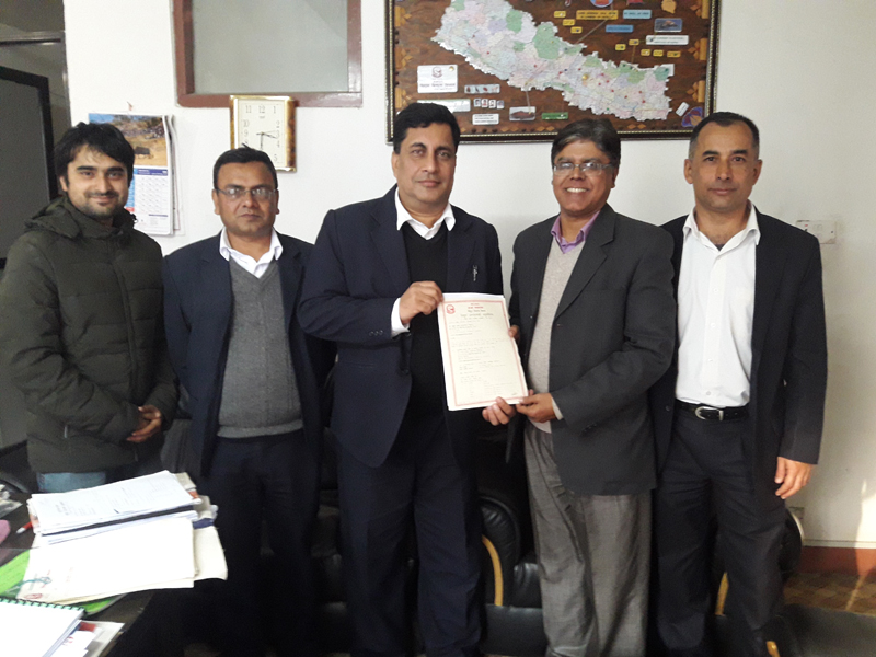 Giving Electricity Development License to Kasuwa Khola Hydropower Project (45 MW) by Director General for Department of Electricity Development Mr. Nabin Raj Singh.